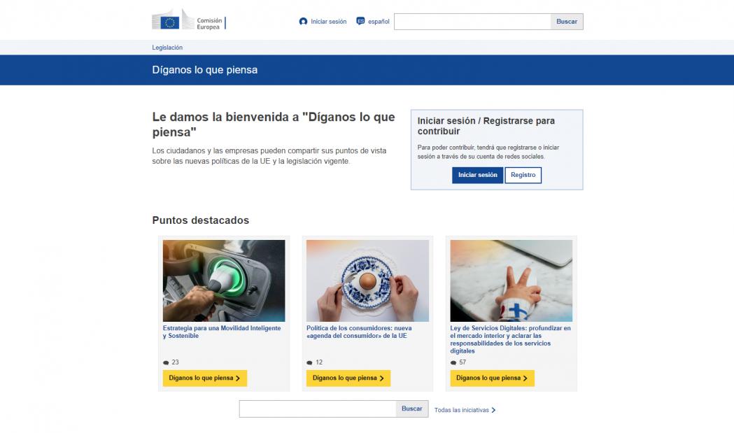 La Comisión Europea moderniza su portal «Díganos lo que piensa»