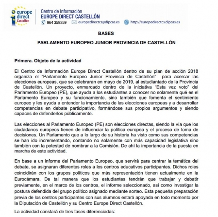 bases parlamento europeo junior