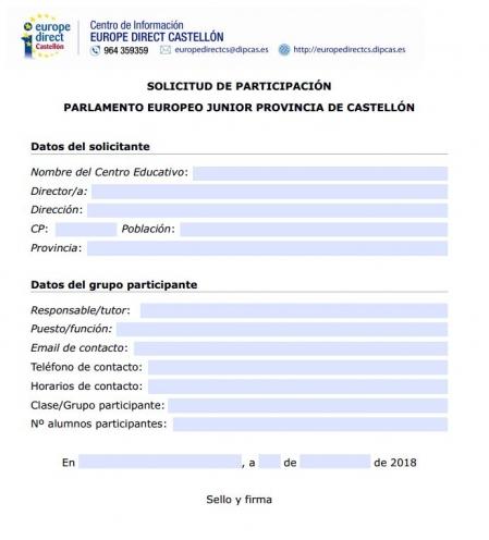 solicitud participación parlamento europeo junior