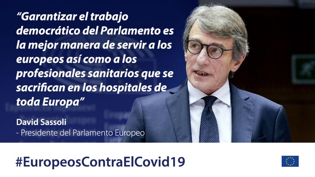 Respuesta coordinada europea al brote de COVID-19: tomas en la atmósfera de los arribos y declaración de apertura de David SASSOLI, presidente del PE